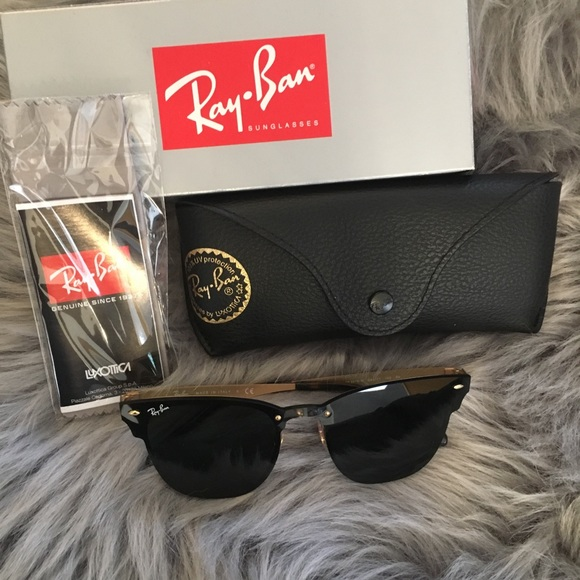 7e8b7ec0d6 New ray ban black gold blaze clubmaster auth. Case